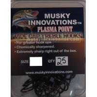 Musky Innovations Plasma Point Treble Hook - 4/0 - 25 pack